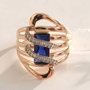 14K Solid Rose Gold Sapphire Swirl Ring
